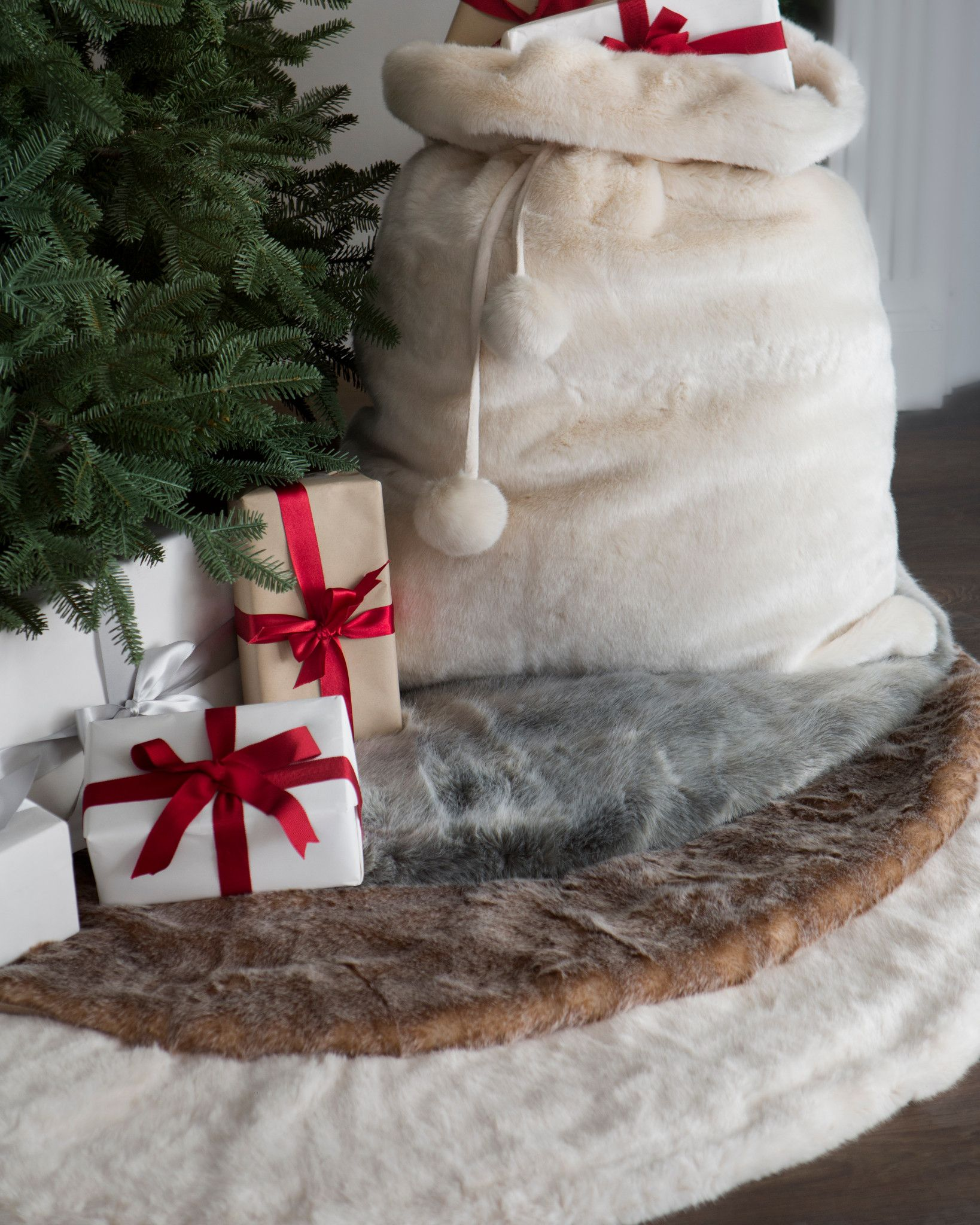 Lodge Faux Fur Tree Skirt Balsam Hill