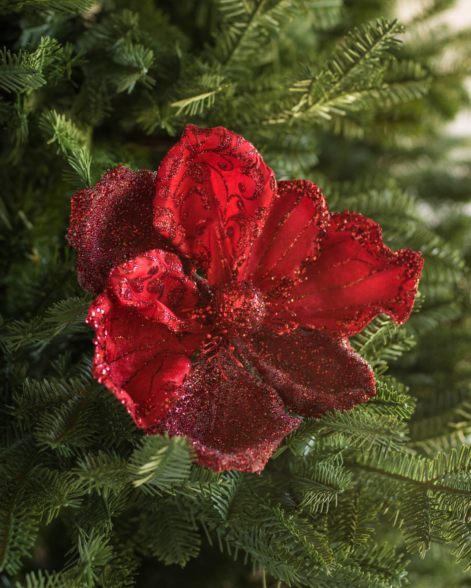 red glitter magnolia picks set of 12 main - Christmas Tree Picks