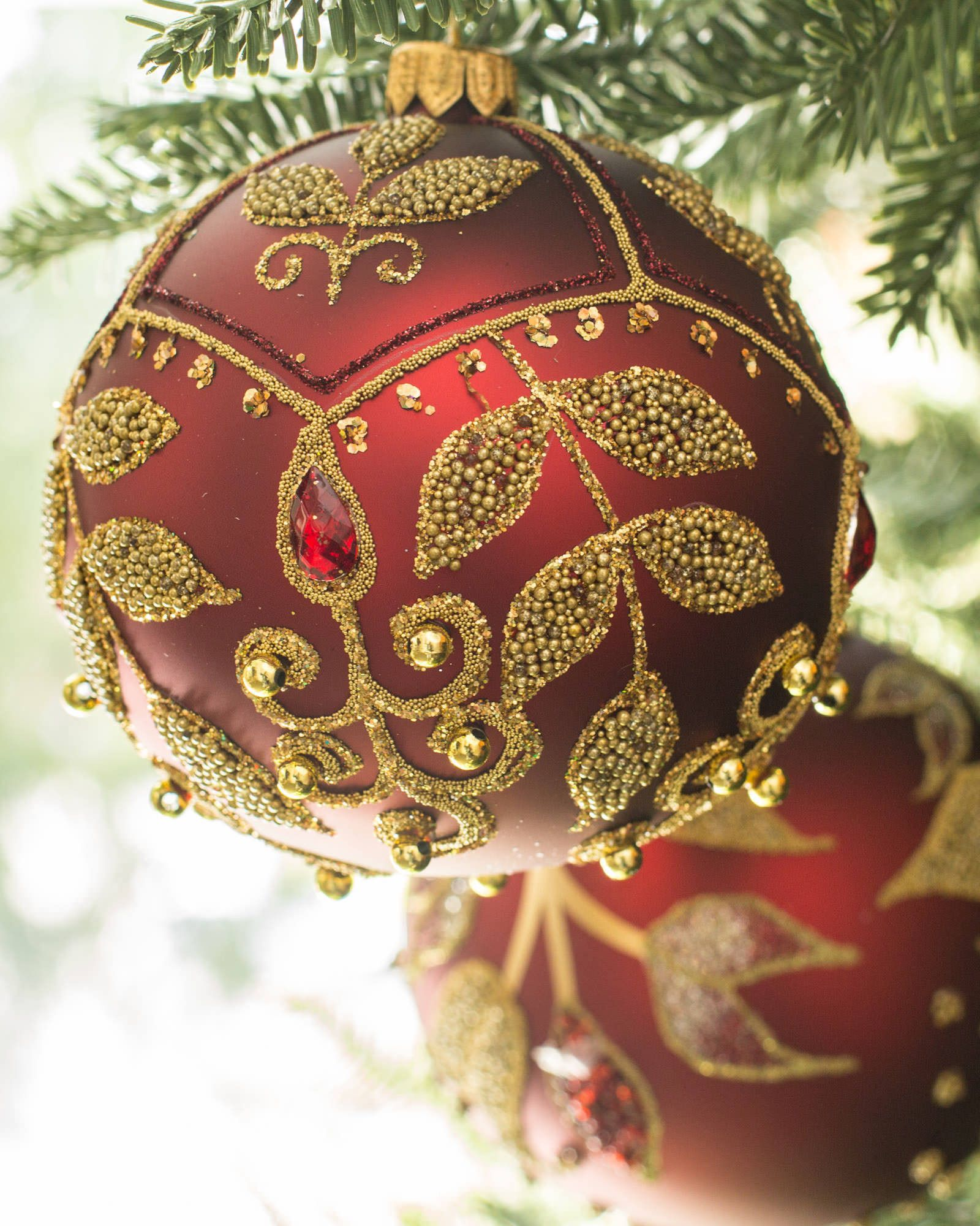 Maroon Christmas Ornaments Part - 49: ... Burgundy And Gold Decorated Glass Ball Ornament Set, ...