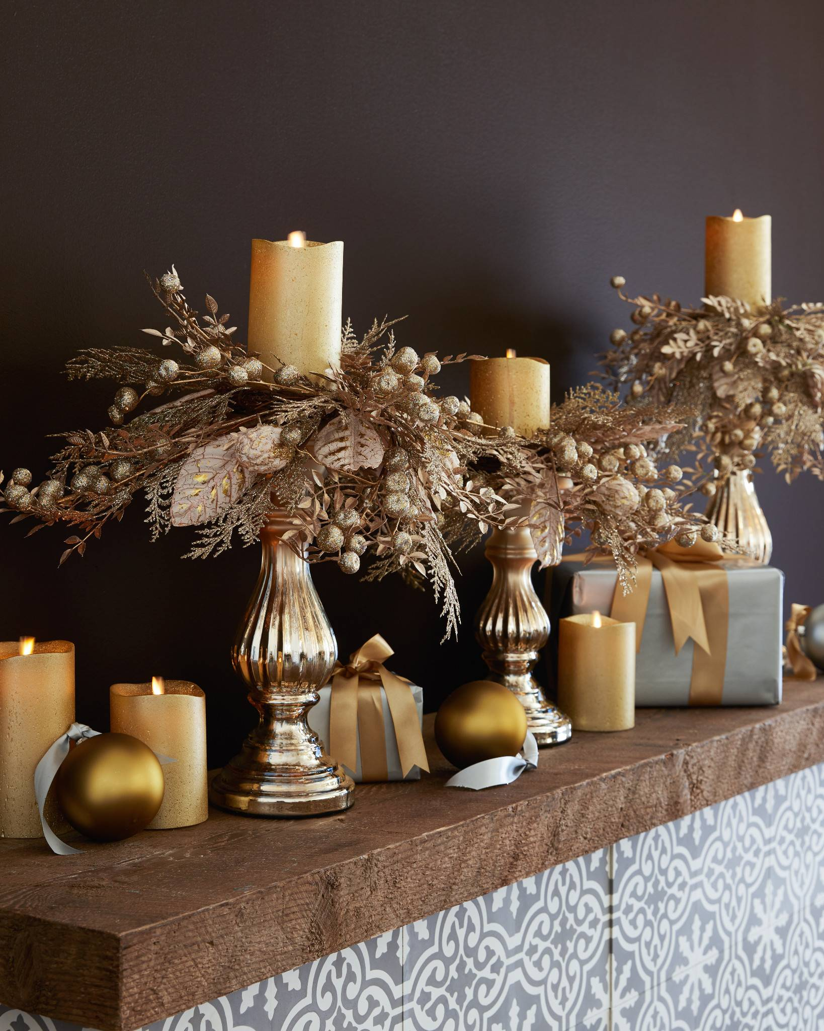 ... Miracle Flame LED Wax Pillar Candle, Frosted Gold by Balsam Hill