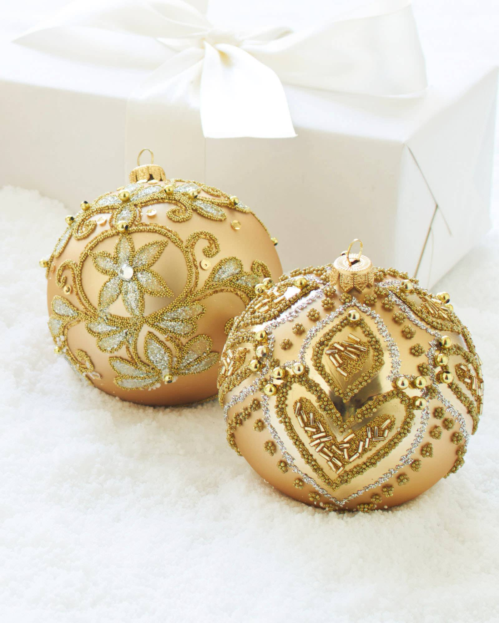 ... Burgundy and Gold Decorated Glass Ball Ornament Set, ...