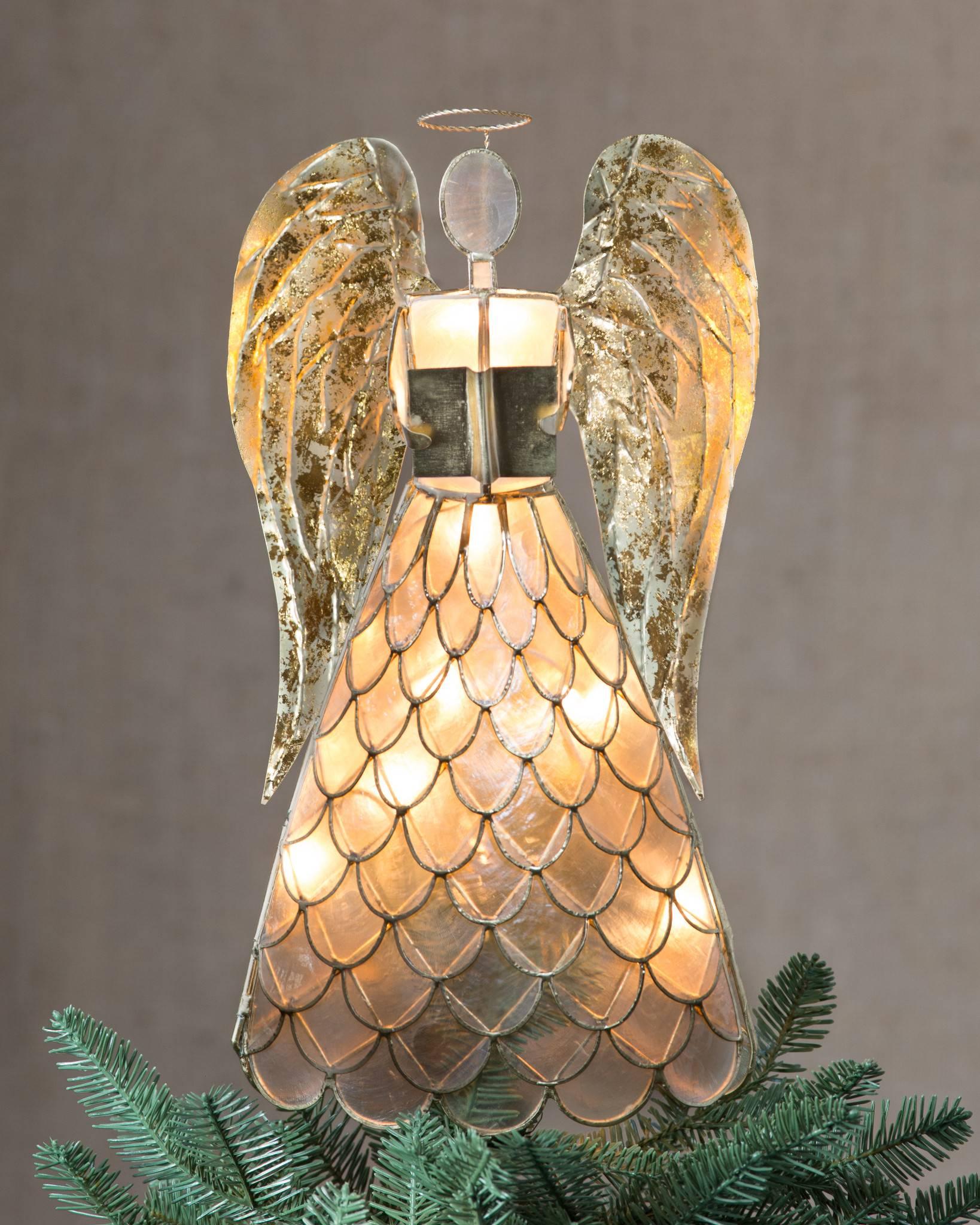 capiz angel lighted tree topper balsam hill. Black Bedroom Furniture Sets. Home Design Ideas