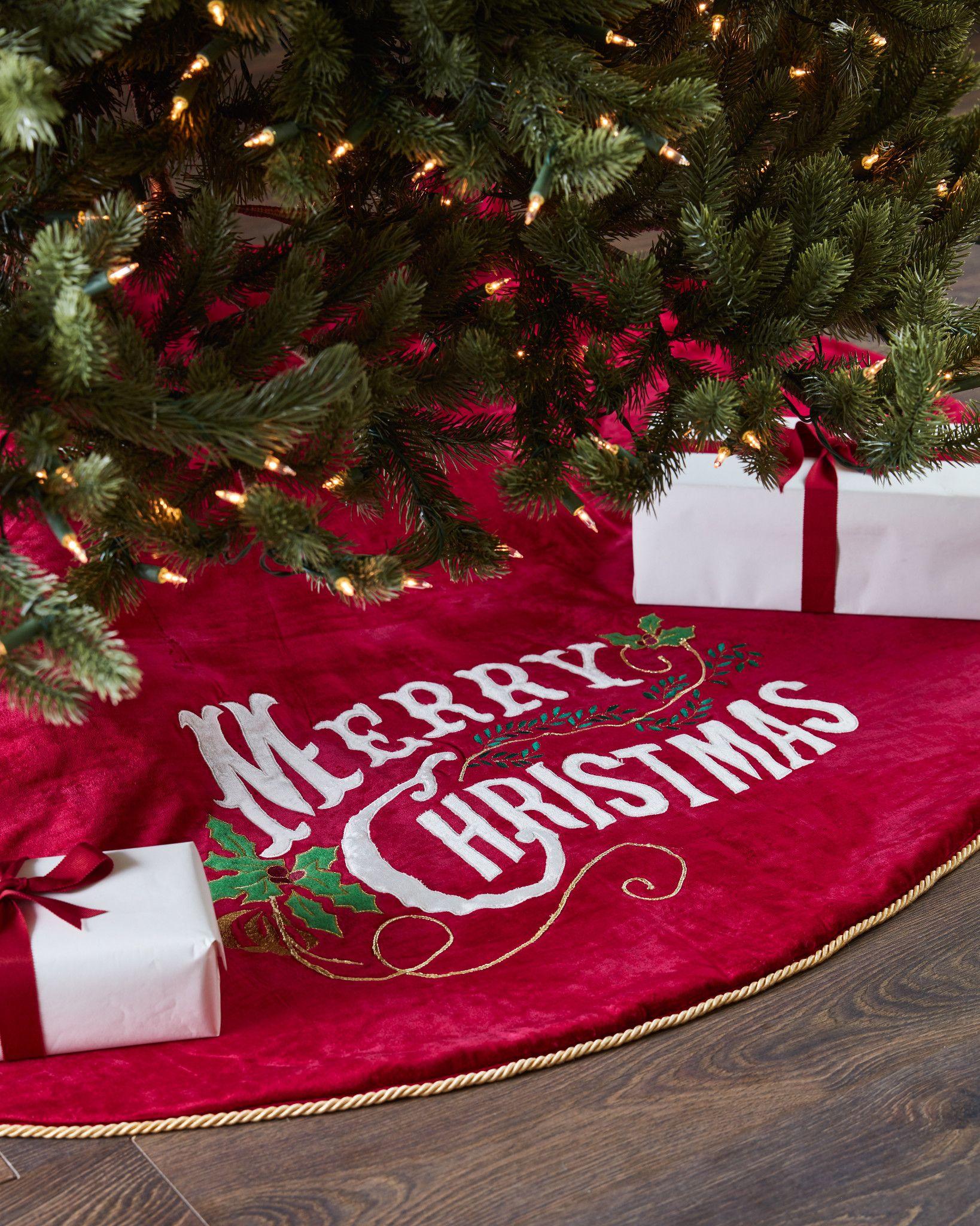 vintage merry christmas velvet tree skirt and santa bag balsam hill