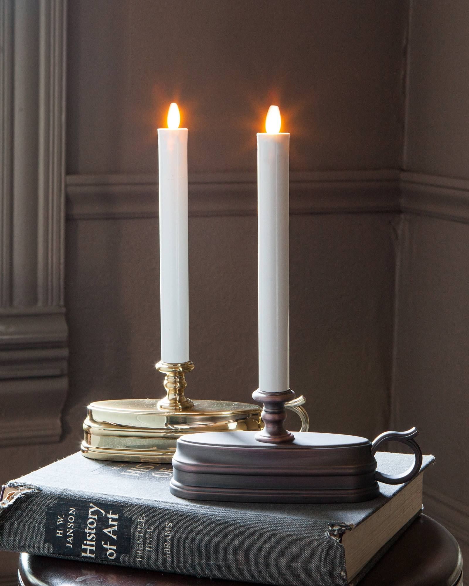 brushed bronze battery operated window candles set of 2 main - Christmas Candle Lights For Windows
