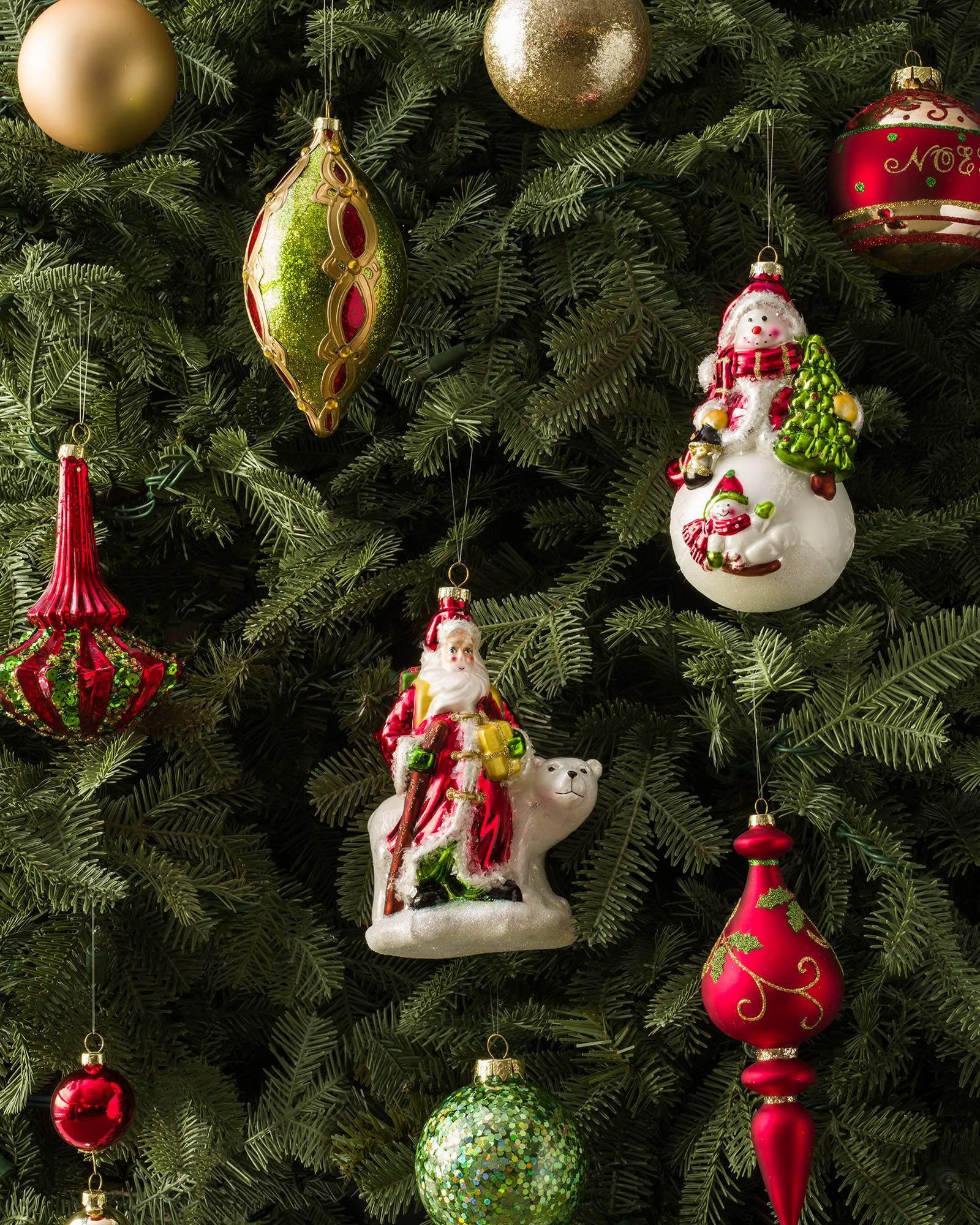 Mistletoe And Holly Glass Ornament Set, 35 Pieces Main Alt