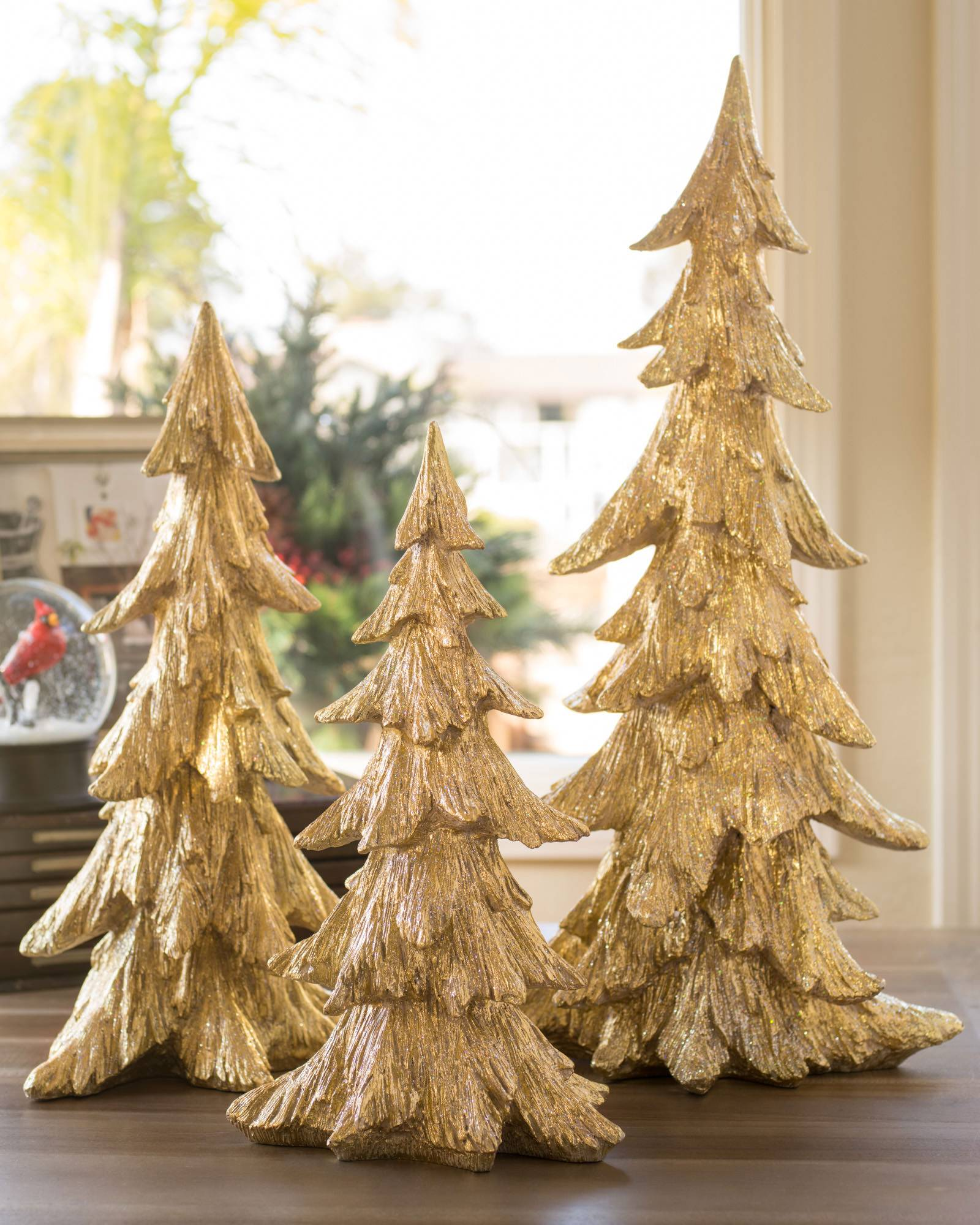 Set of 3 gold tabletop christmas trees balsam hill Over the top christmas tree decorations