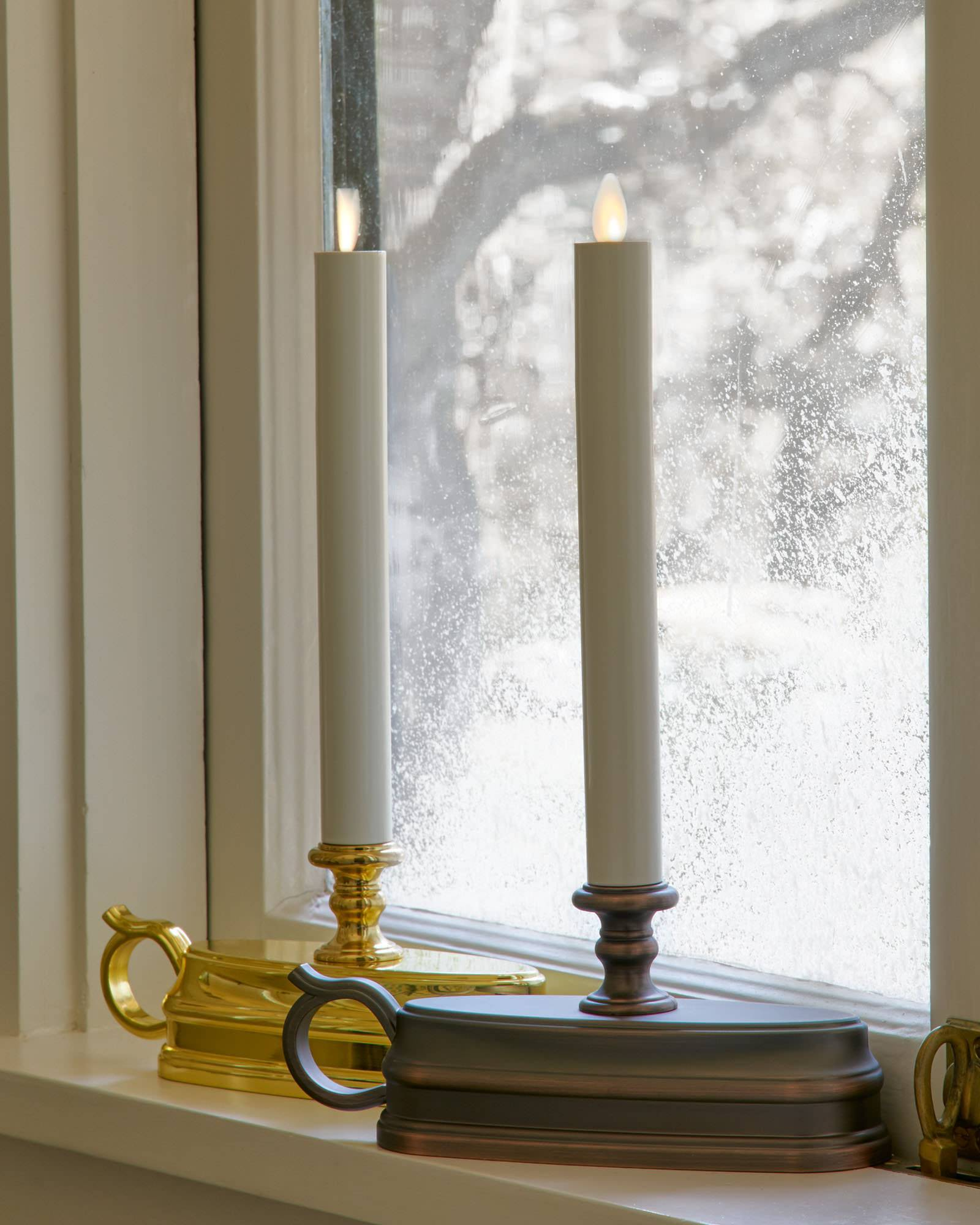 Battery operated window candles with timer -  Brushed Bronze Battery Operated Window Candles