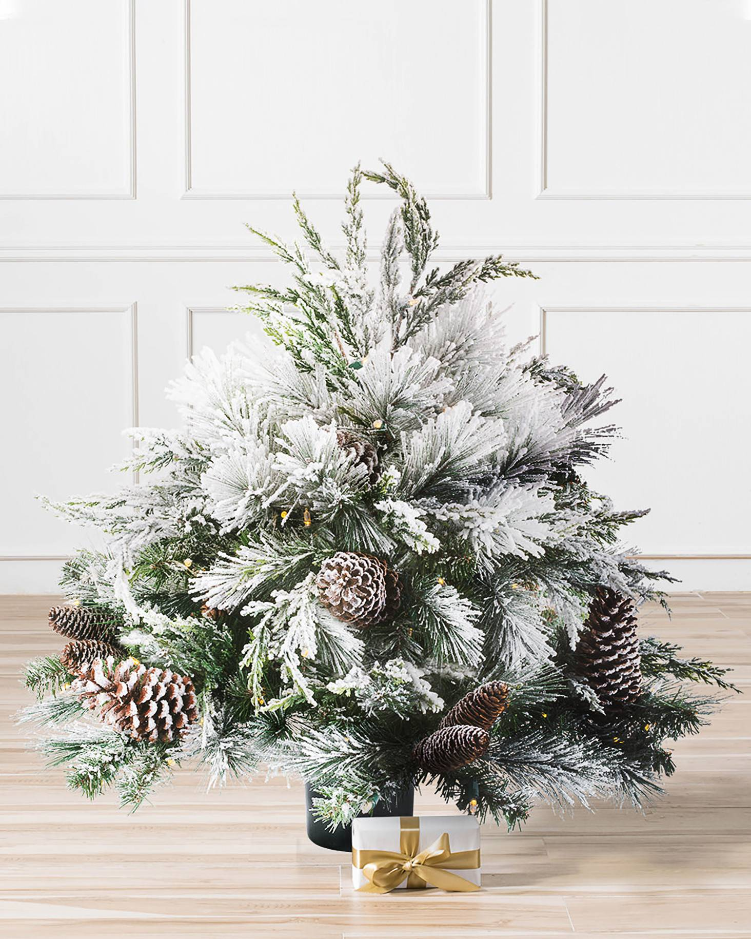 outdoor frosted evergreen main - White Fake Christmas Trees
