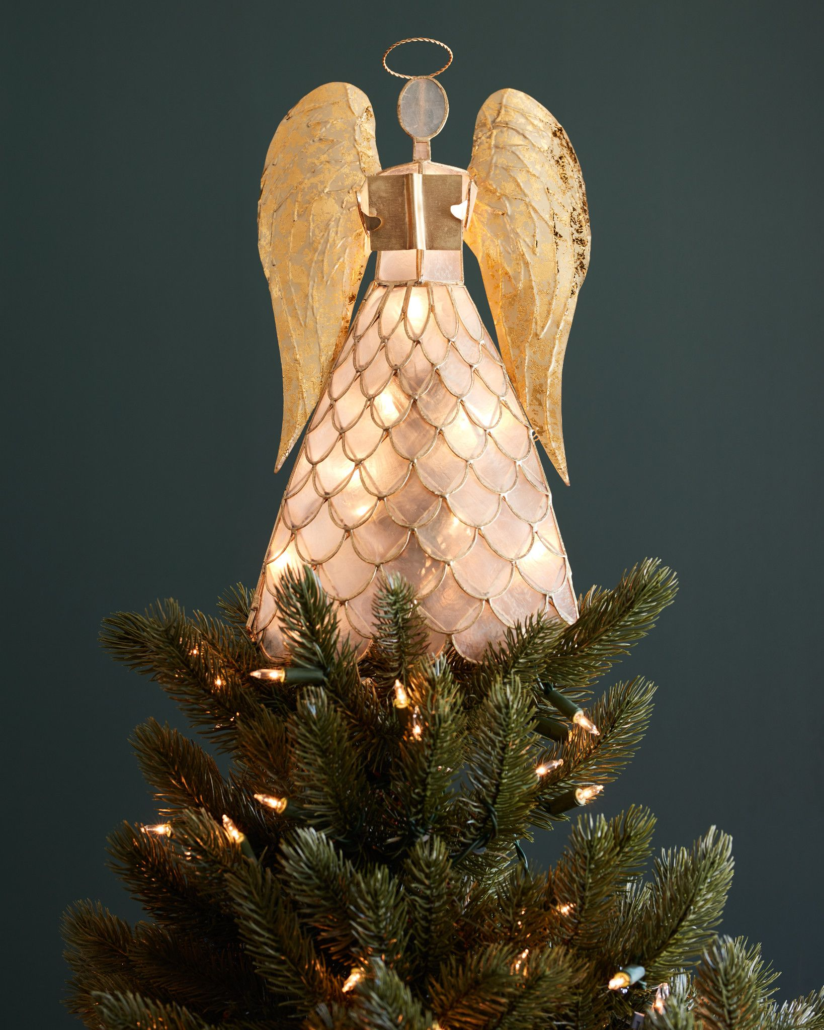 capiz angel lighted tree topper balsam hill