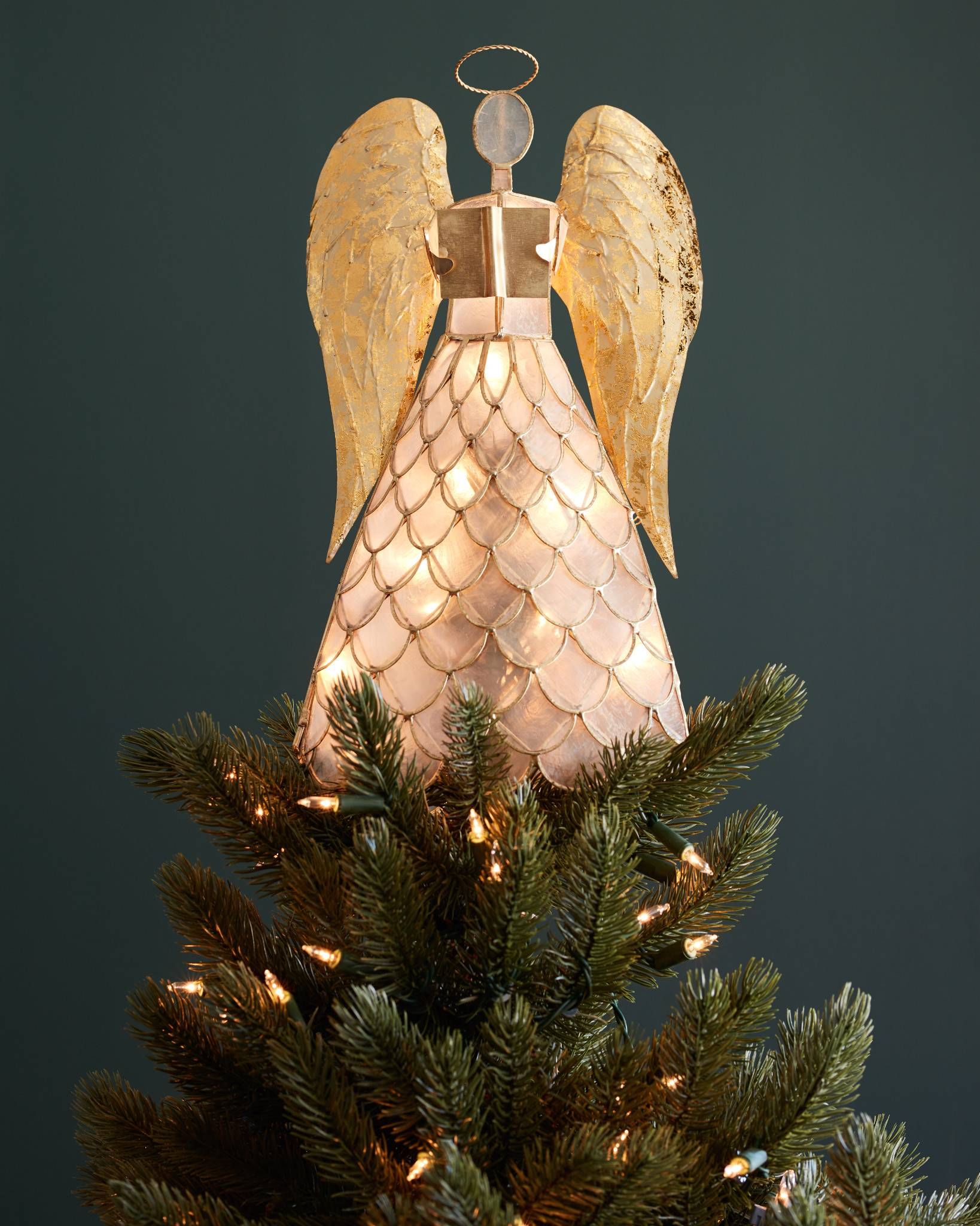 capiz angel lighted tree topper by balsam hill - Lighted Christmas Tree Topper