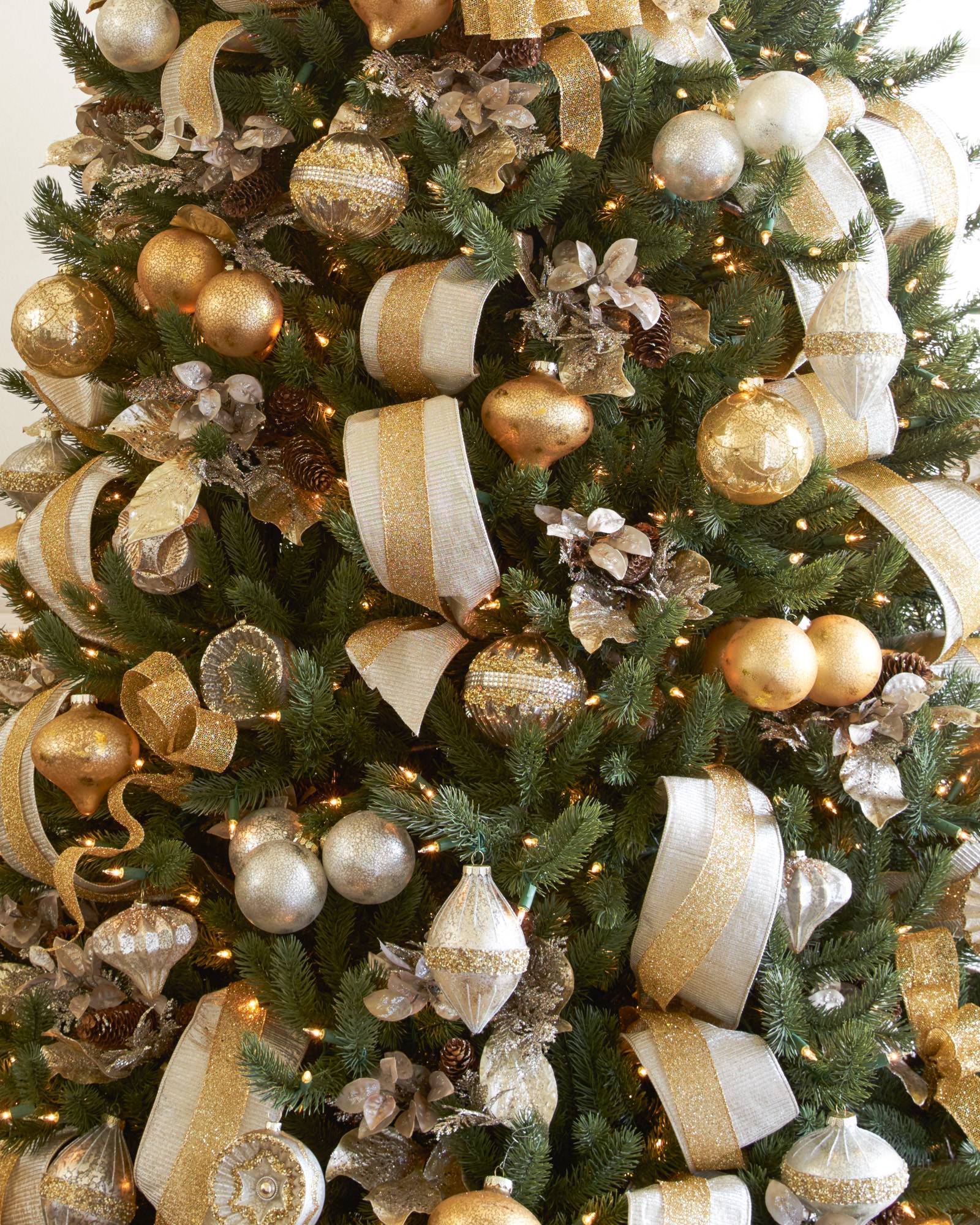 Shimmering Metallic Christmas Tree Ribbon Balsam Hill - Pictures Of Christmas Trees Decorated With Ribbon