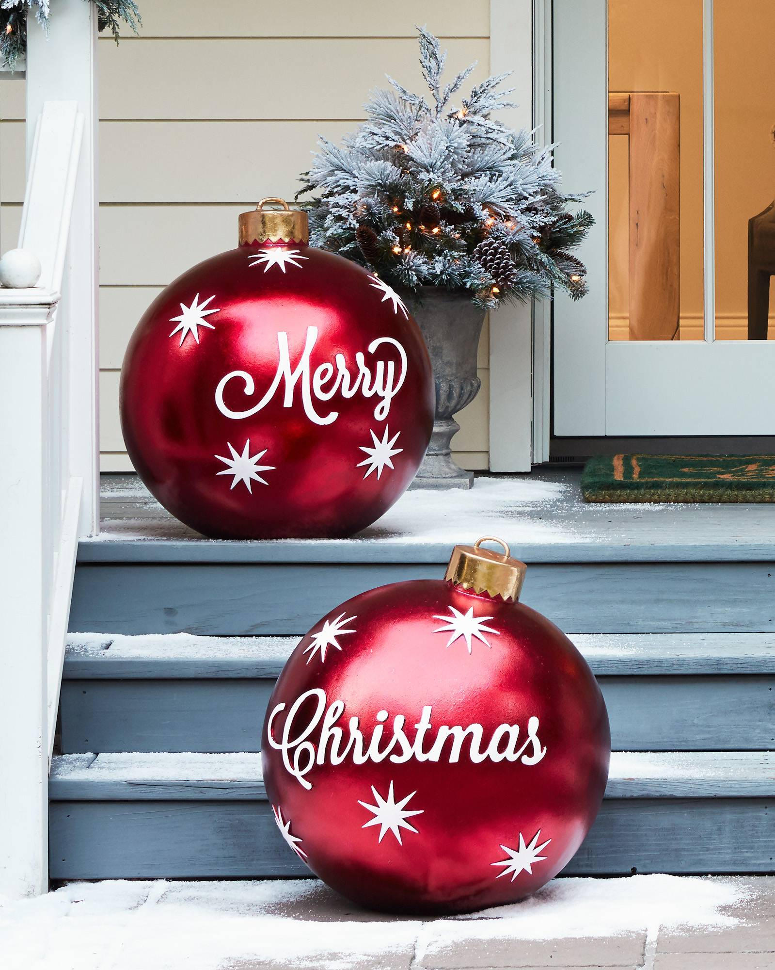 Outdoor merry christmas ornaments balsam hill for Outside house ornaments