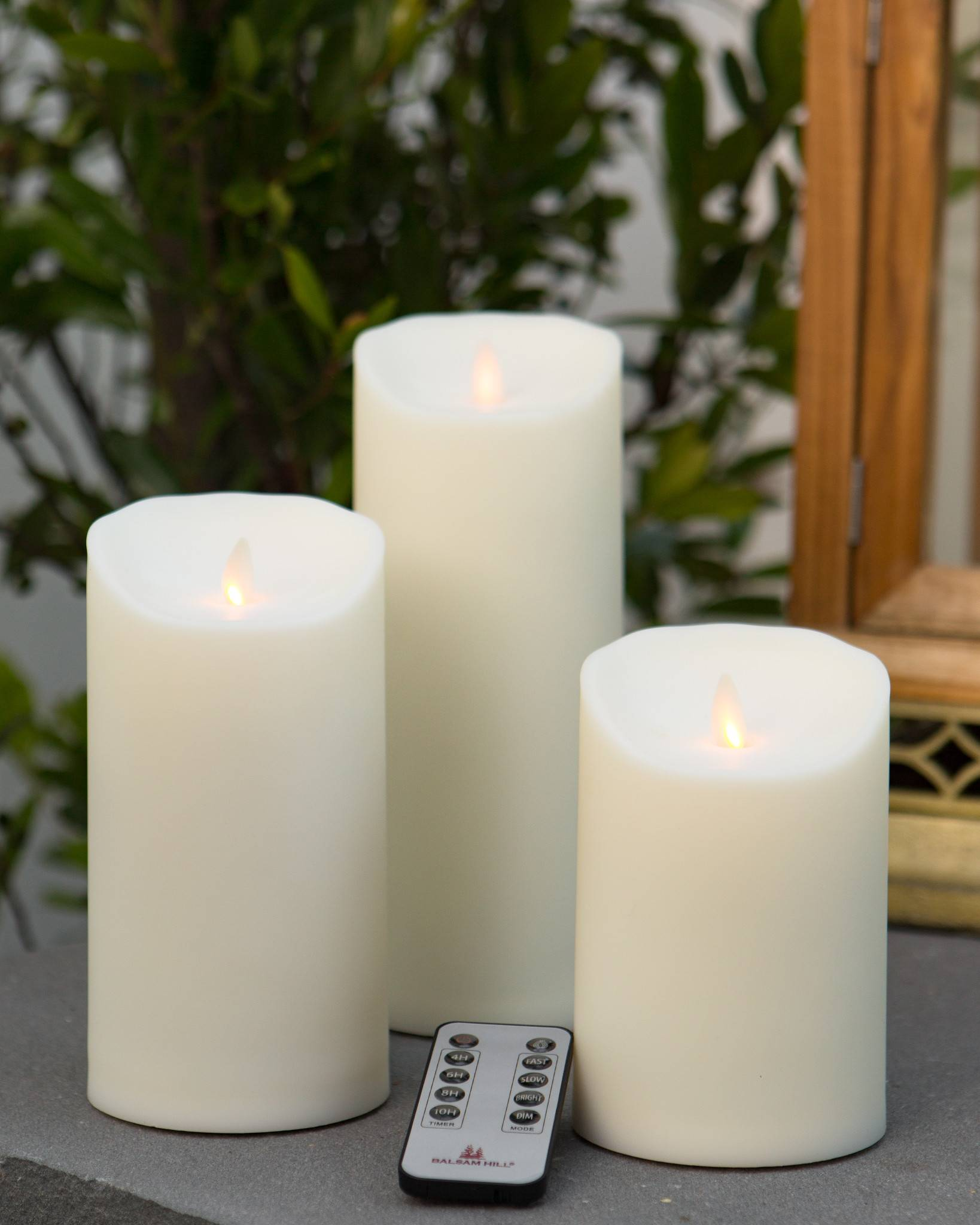 Outdoor Miracle Flame LED Pillar Candle by Balsam Hill