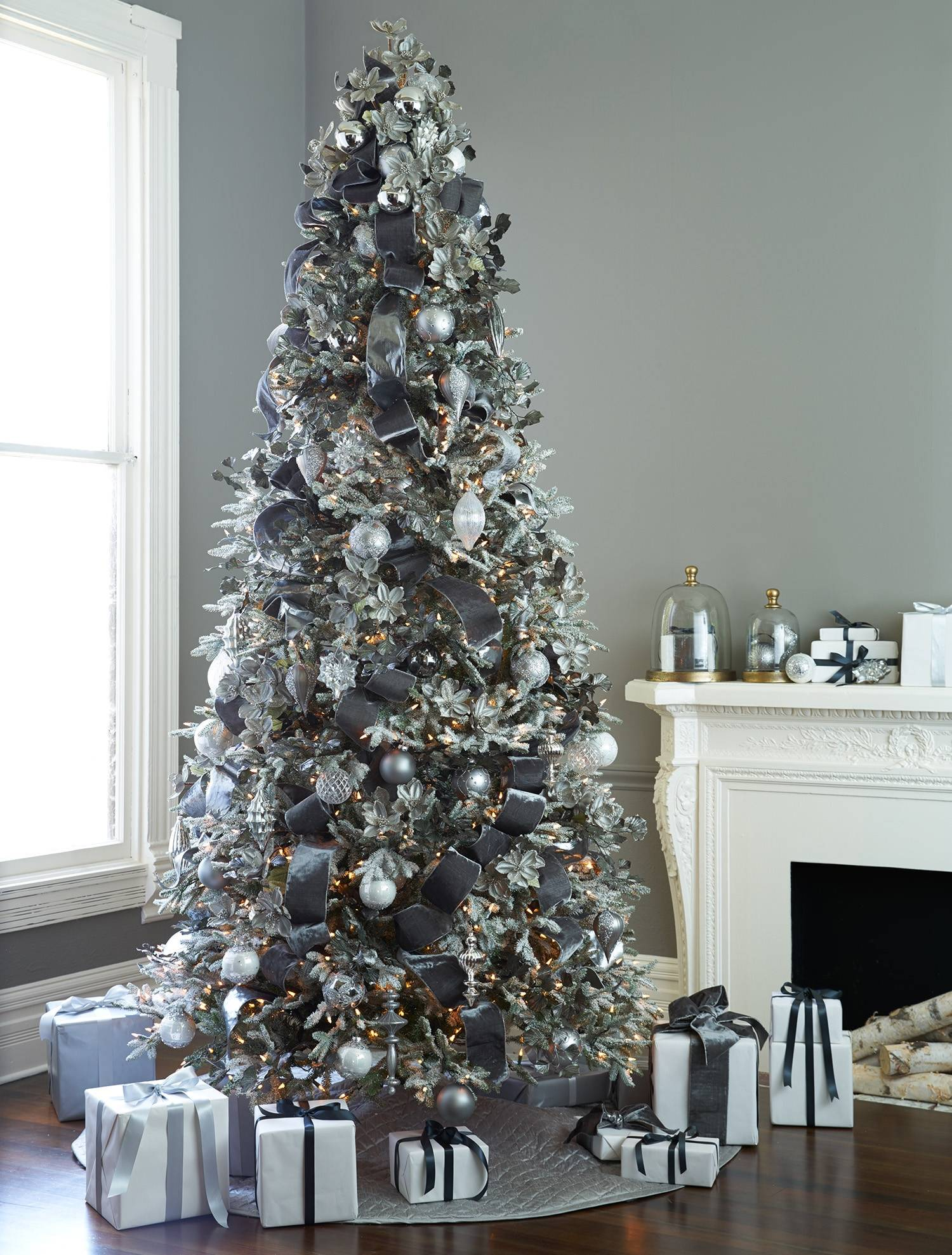 Grey Christmas Tree Frosted Fraser Fir Narrow Artificial Christmas Tree Balsam Hill
