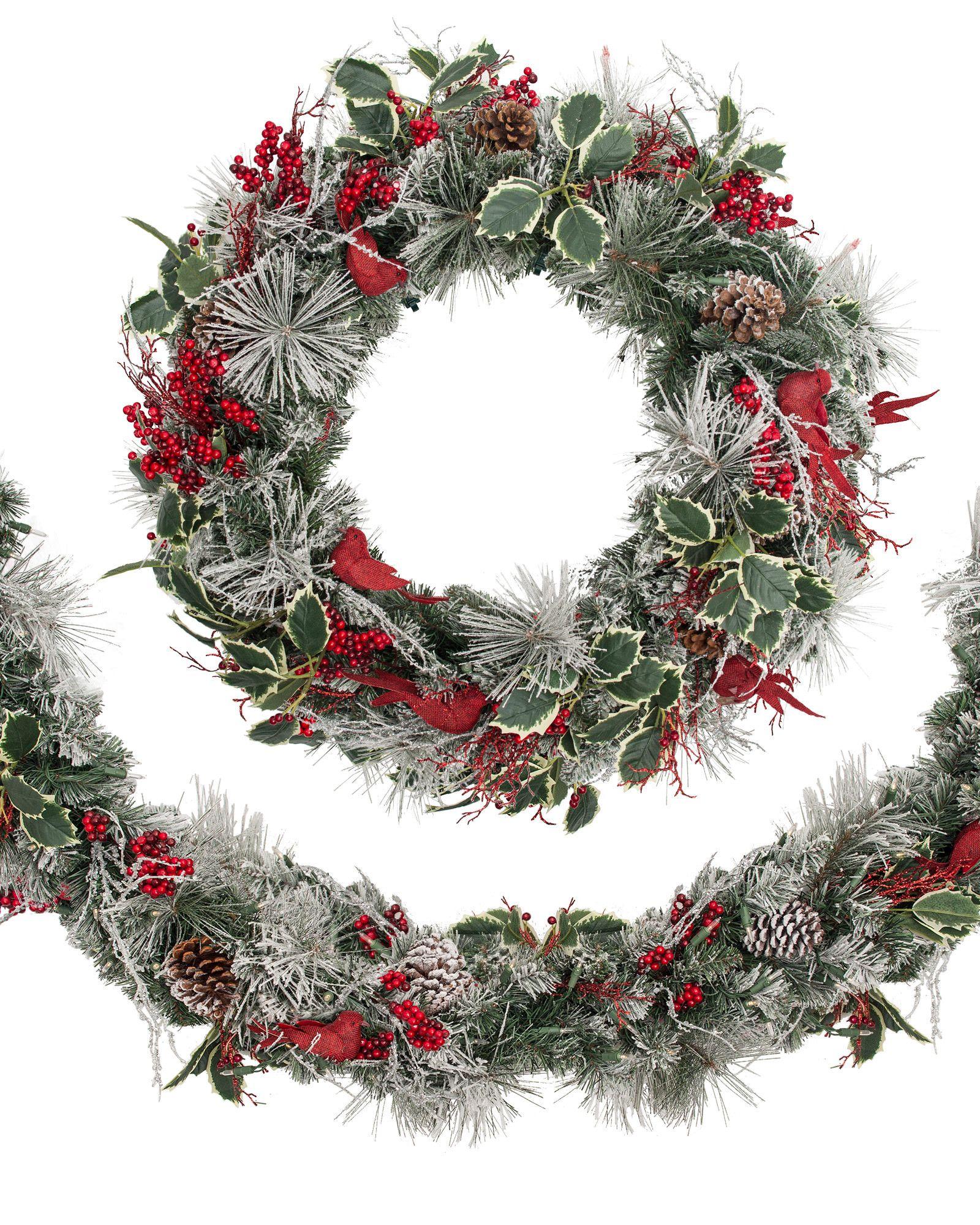 cardinal wreath and garland balsam hill