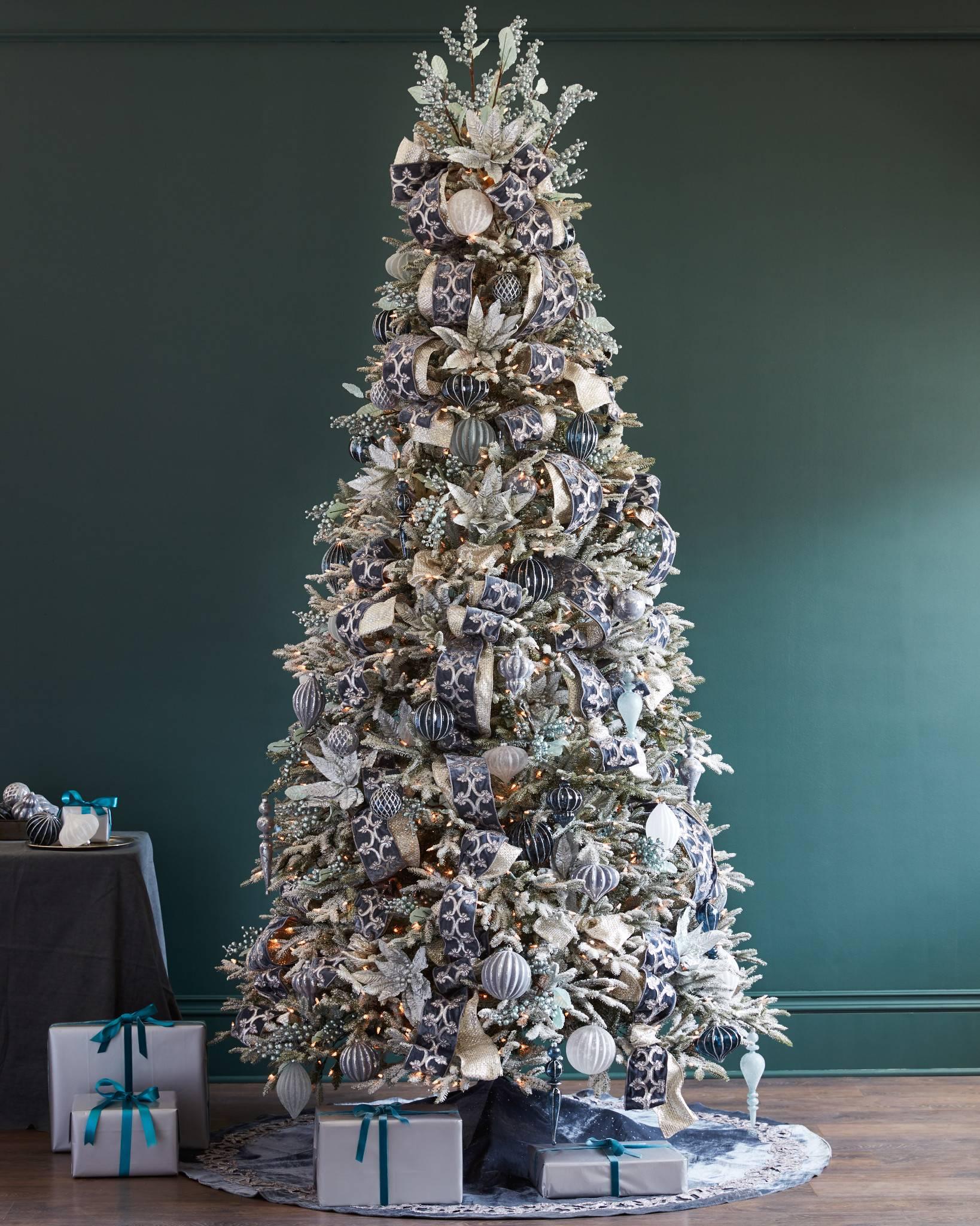 french blue velvet tree skirt by balsam hill - White Christmas Tree Skirt