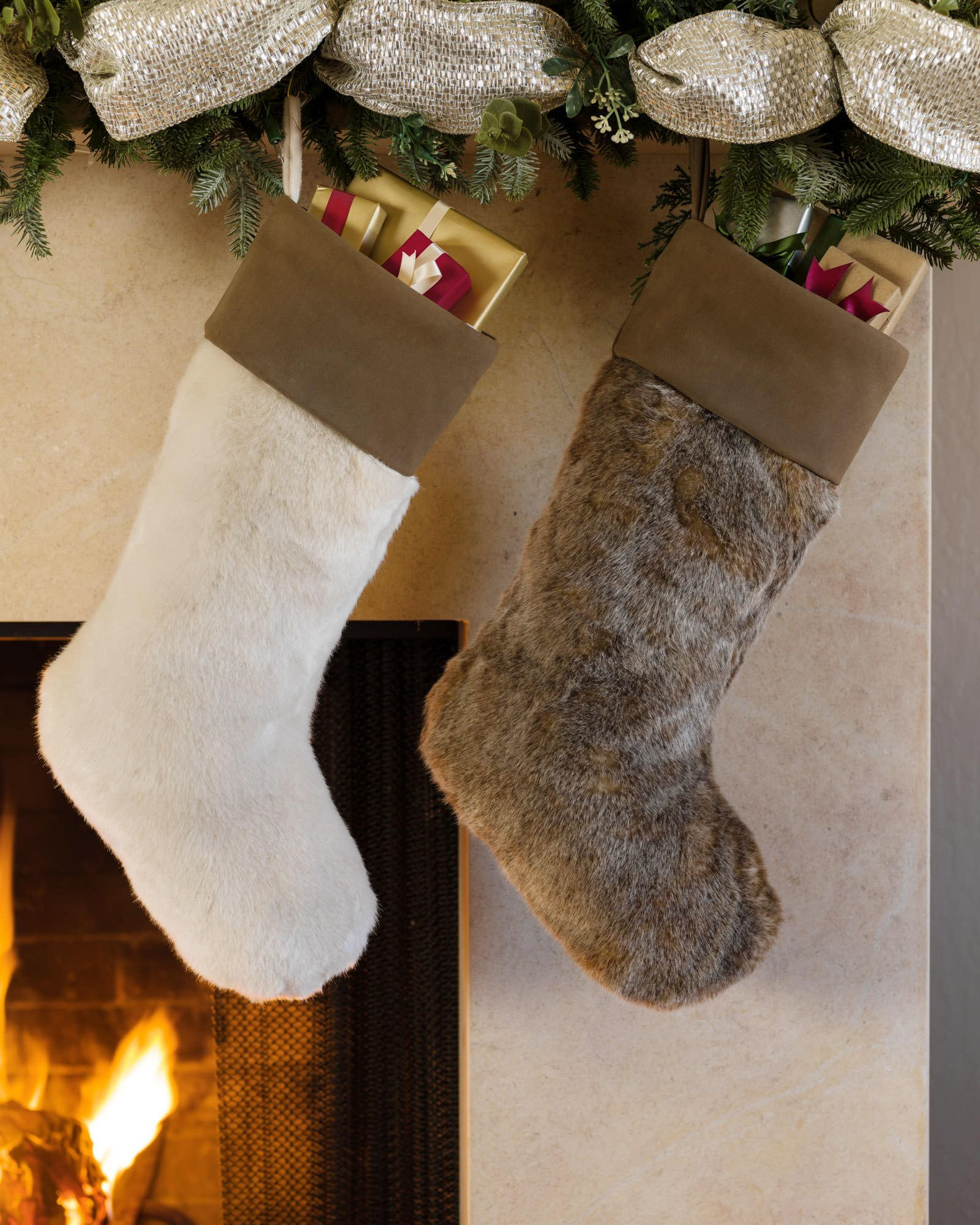 Lodge Faux Fur Christmas Stocking | Balsam Hill