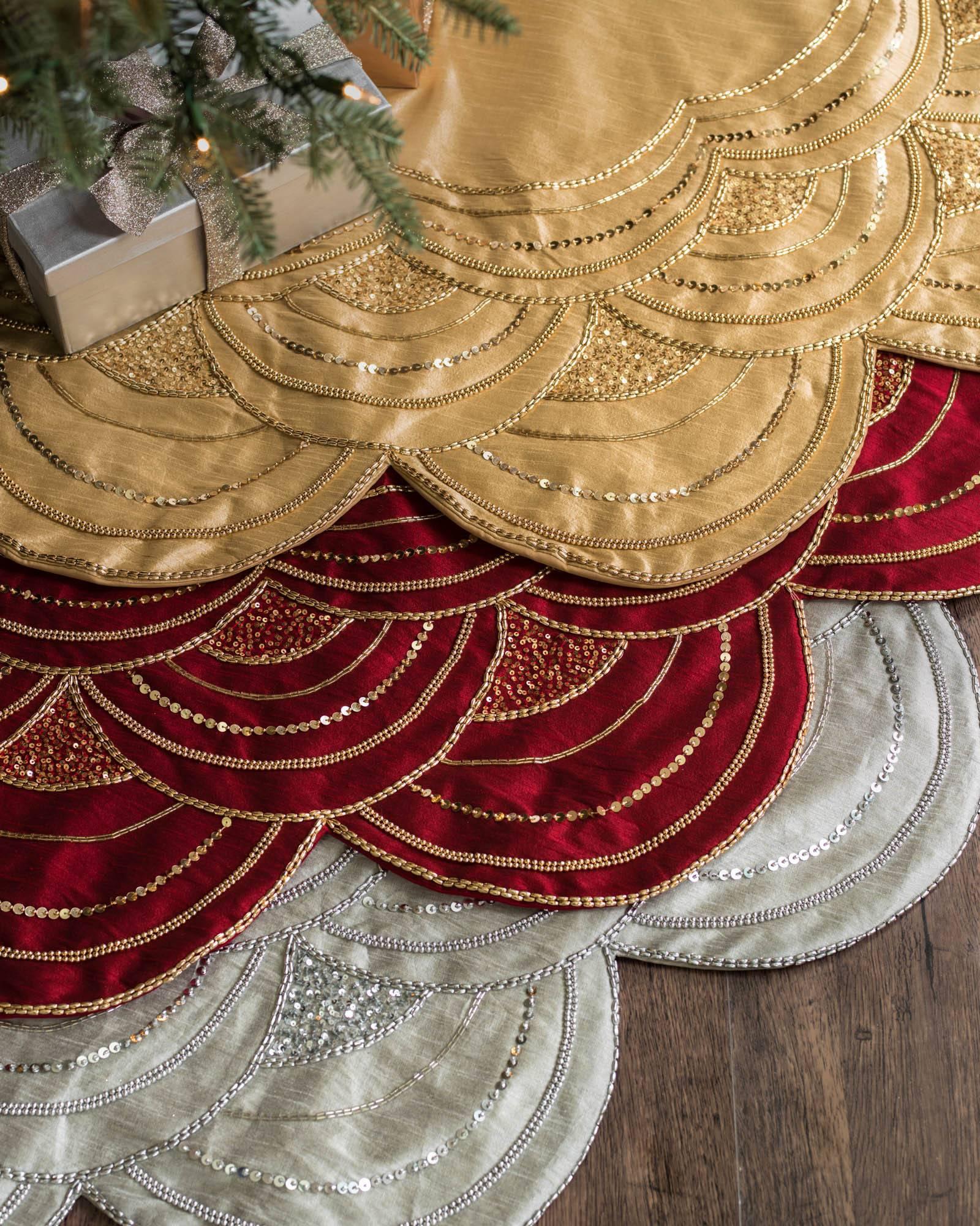 elizabeth beaded tree skirt main - Gold Christmas Tree Skirt