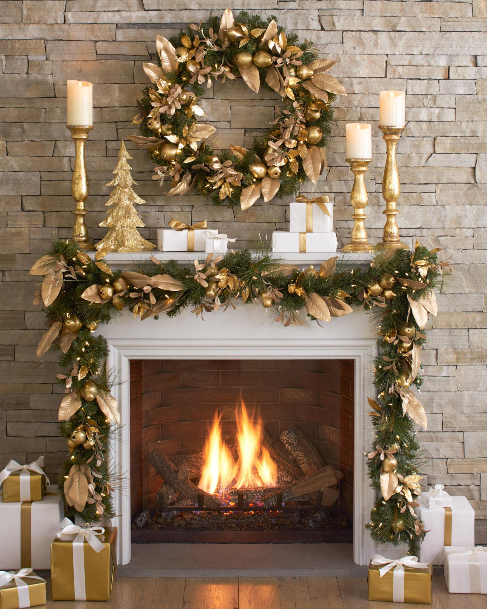 ... Golden Christmas Tabletop Trees, Set of 3 Alt