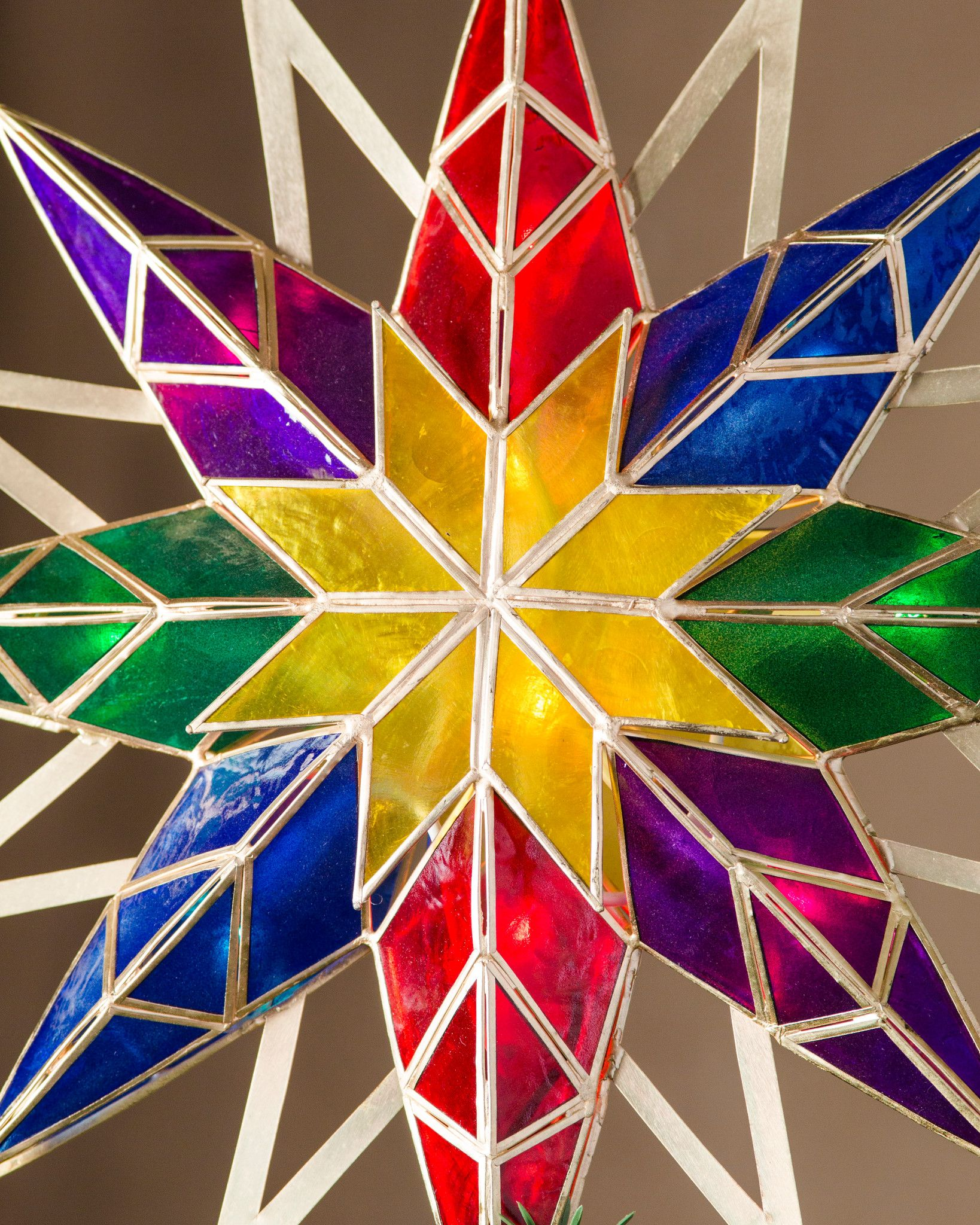 multicolor doublesided starburst tree topper by balsam hill