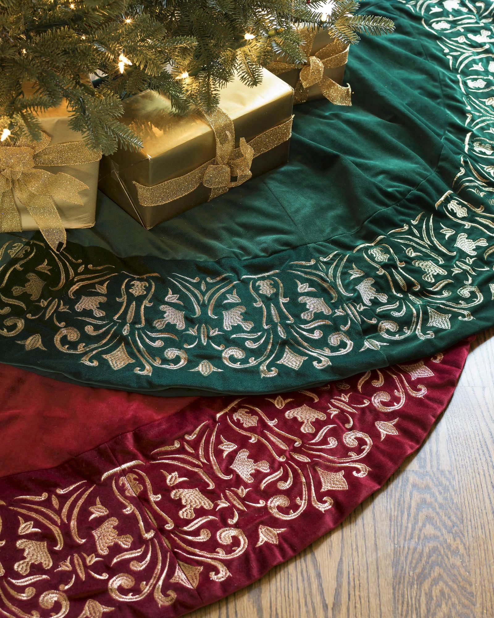 christmas tree skirts balsam hill