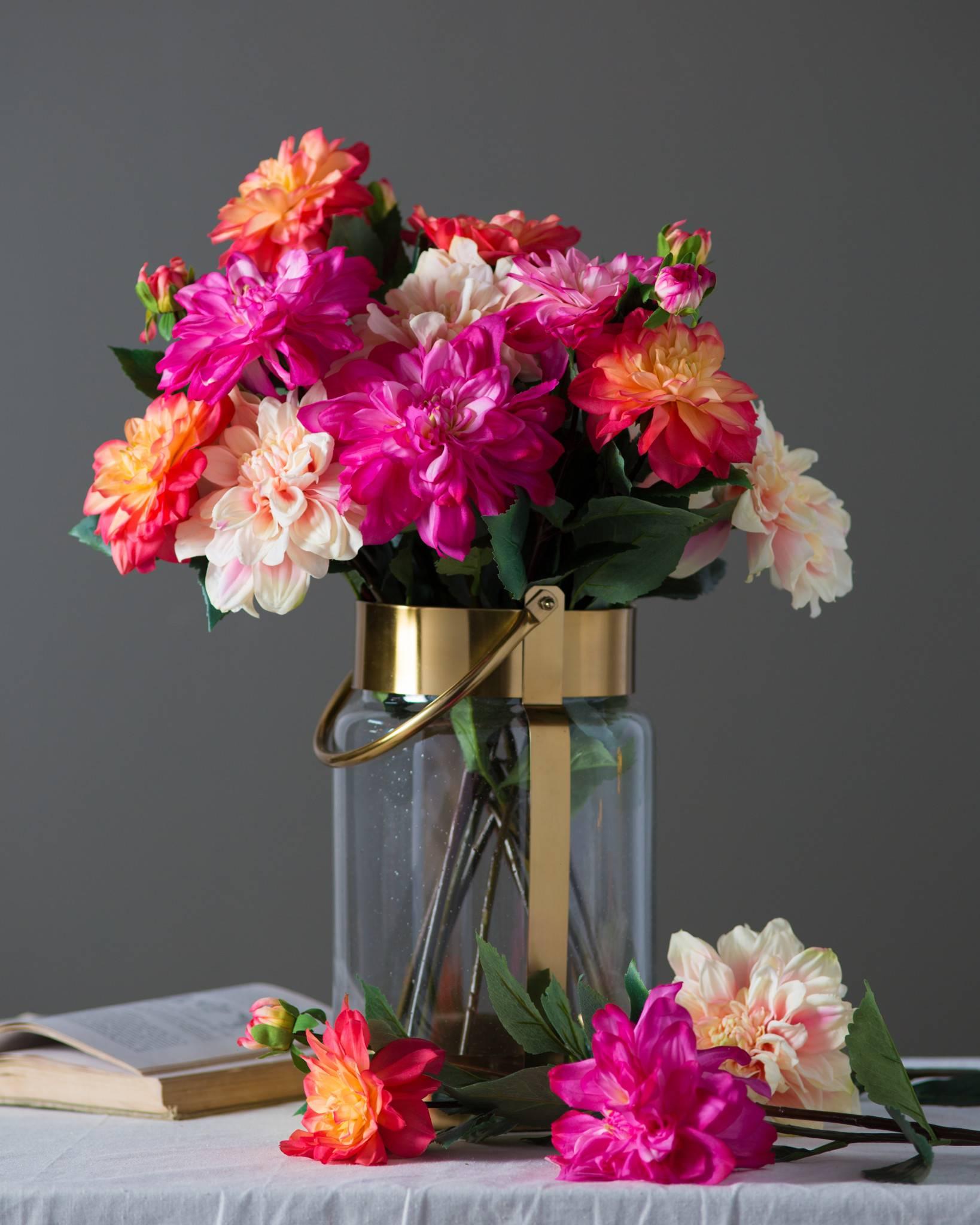 Dahlia flower stems balsam hill dahlia flower stems main peachlight pink and magenta sold separately izmirmasajfo Gallery