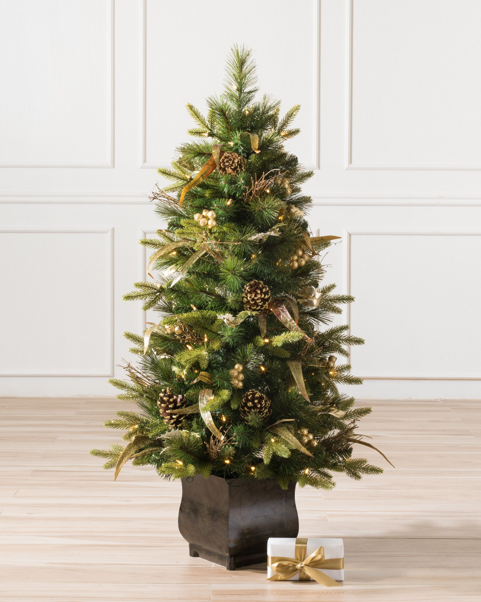 Coloma Golden Pine Potted Artificial Christmas Tree | Balsam Hill