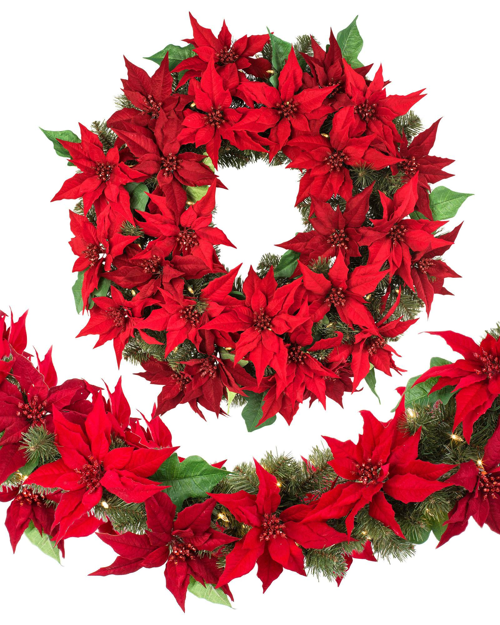 Holiday LED Battery Operated Poinsettia Foliage Balsam Hill