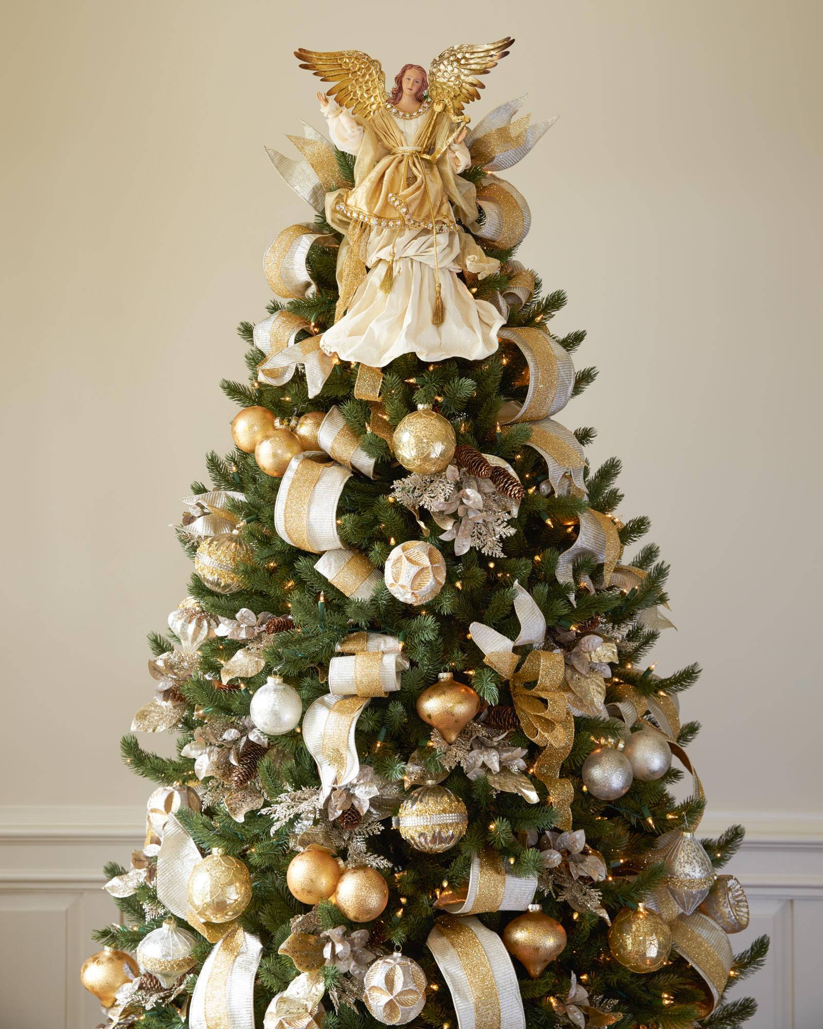 Gold angel tree topper balsam hill for White and gold tree decorations