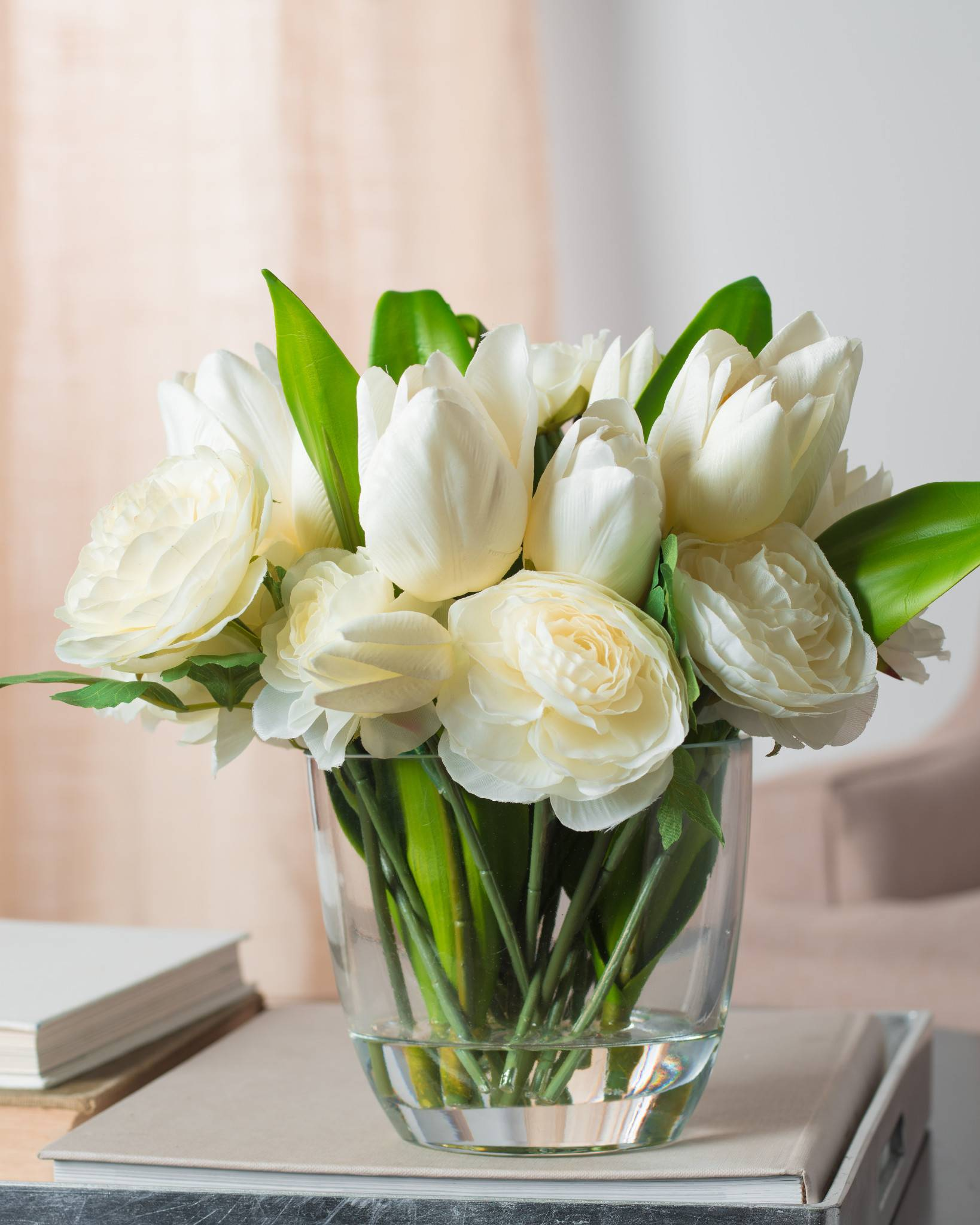 ... White Tulip and Ranunculus Arrangement ...